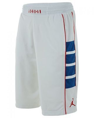 f475f6b0e52f28 Nike Jordan Cat Scratch Mens 589345-102 White Blue Red Basketball Shorts  Size XL