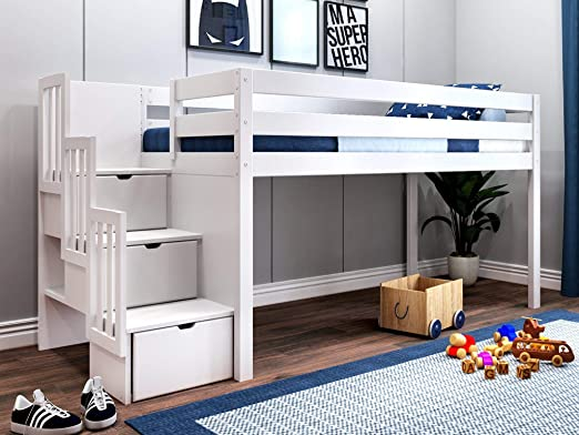 Amazon Com Jackpot Jp St White Contemporary Low Twin Stairway Loft Bed Kitchen Dining In 2020 Low Loft Beds Twin Loft Bed Loft Bed Frame