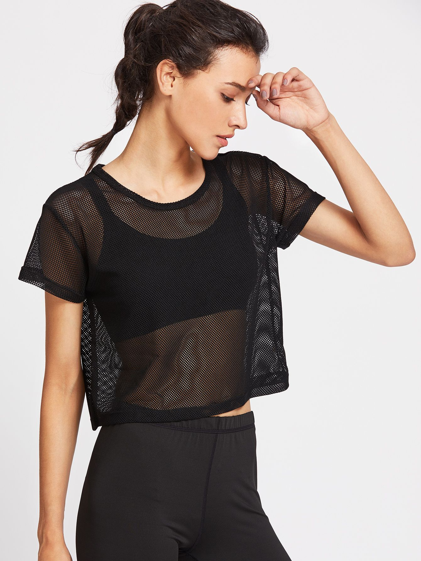 2a7adfd44 Shop Fishnet Crop Top online. SheIn offers Fishnet Crop Top & more to fit  your fashionable needs.