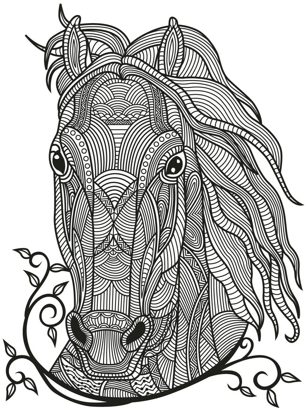 Horse Zentangle | Colorish: coloring book app for adults mandala ...