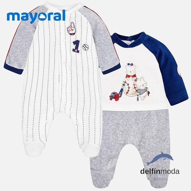 Set De Dos Pijamas Terciopelo Bebe Mayoral Nino Beisbol