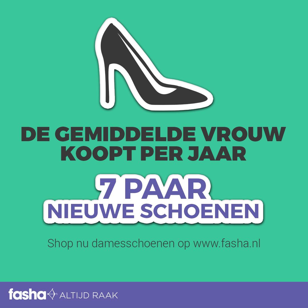 De Gemiddelde vrouw koopt per jaar 7 paar nieuwe schoenen. Herken jij dit en koop jij misschien jaarlijks nog meer? Of heb jij aan 1 paar nieuwe schoenen per jaar meer dan genoeg?   Shop nu damesschoenen op http://www.fasha.nl/dames-schoenen