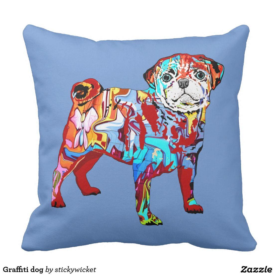 Graffiti dog throw pillow | Graffiti, Dogs and Throw pillows