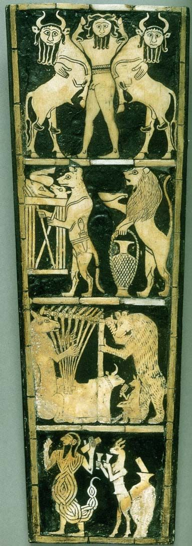"""Inlay panel from the soundbox of a lyre, from Ur. c. 2600 BCE Shell and bitumen, 12 ¼ X 4 ½ """"."""
