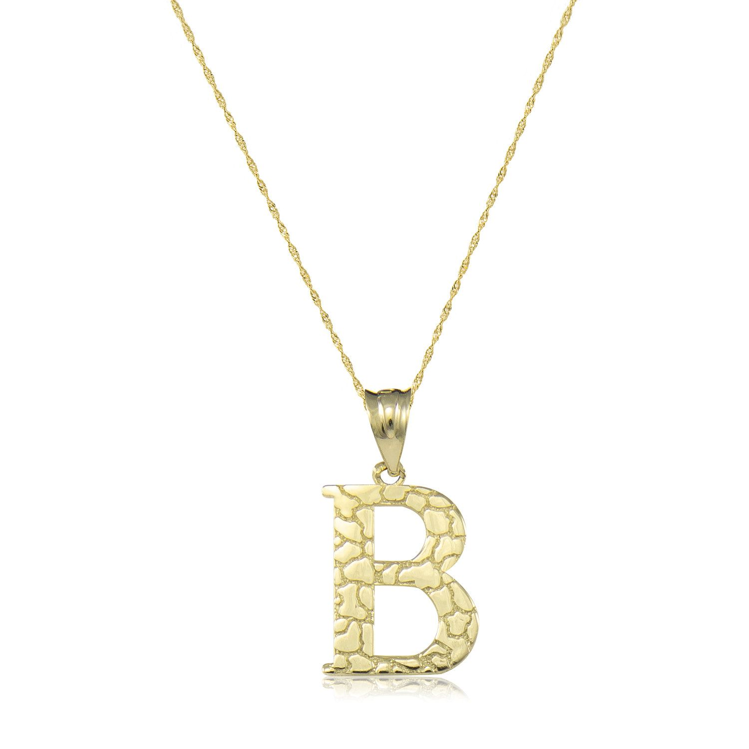 10k Solid Yellow Gold Nugget Initial Letter Necklace Pendant Singapore Chain Description Material Yellow Gold Pendants Gold Nugget Custom Initial Jewelry