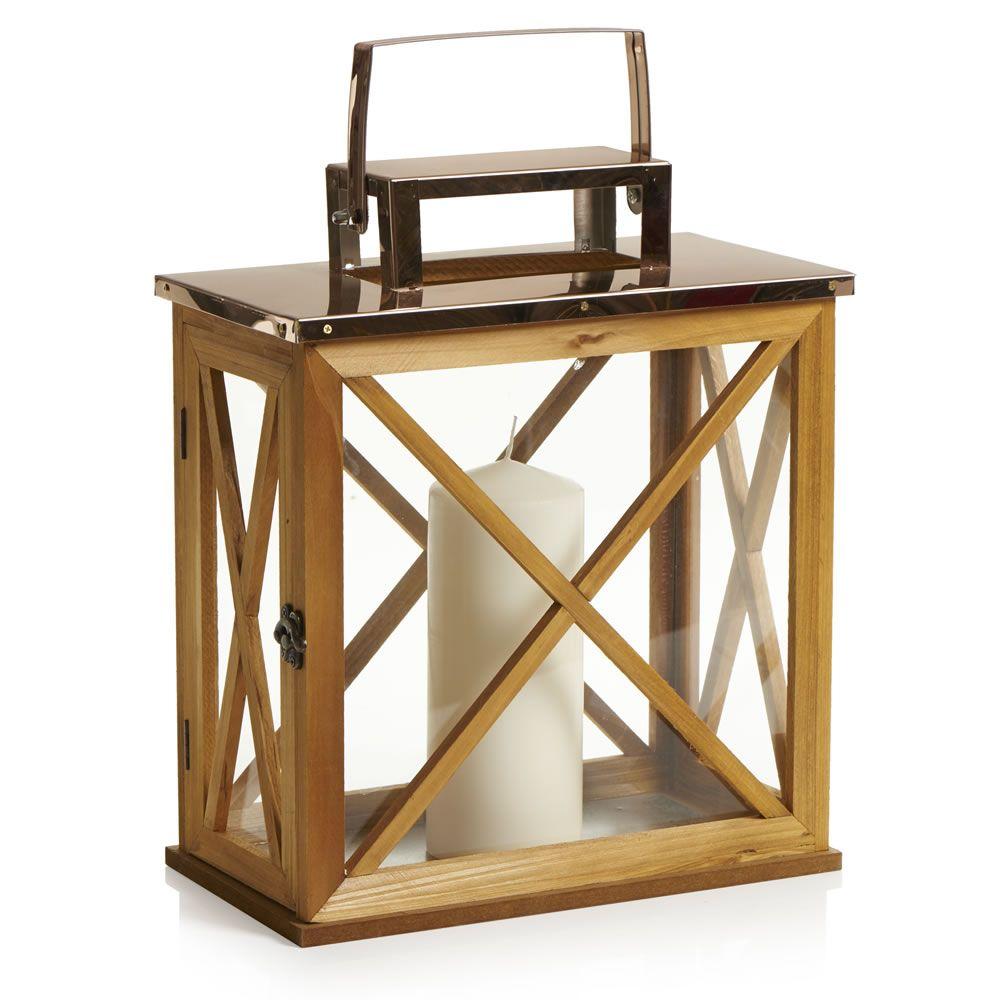Wilko Large Wood Copper Top Lantern Home Decor Copper Lantern Furniture