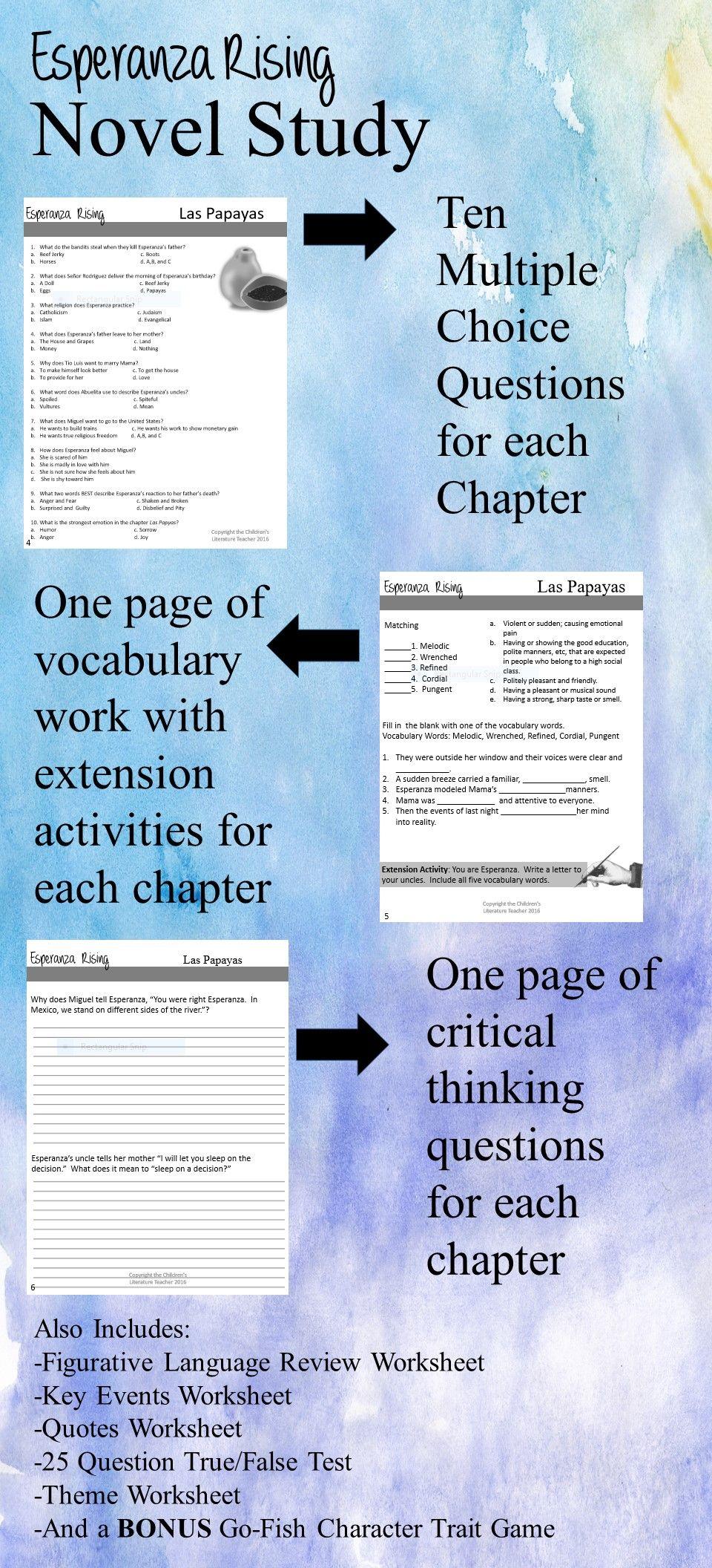 worksheet Esperanza Rising Vocabulary Worksheets esperanza rising complete novel study editable character trait editable
