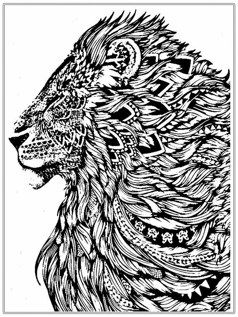 Free Lion Coloring Pages For Adult | Animal - too detailed ...