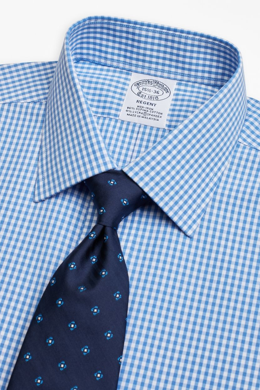 d2f57d52393 Light Blue Gingham Non-Iron Dress Shirt by Brooks Brothers - the best  non-iron dress shirts, you can wear there's men's dress shirts for the  entire day and ...