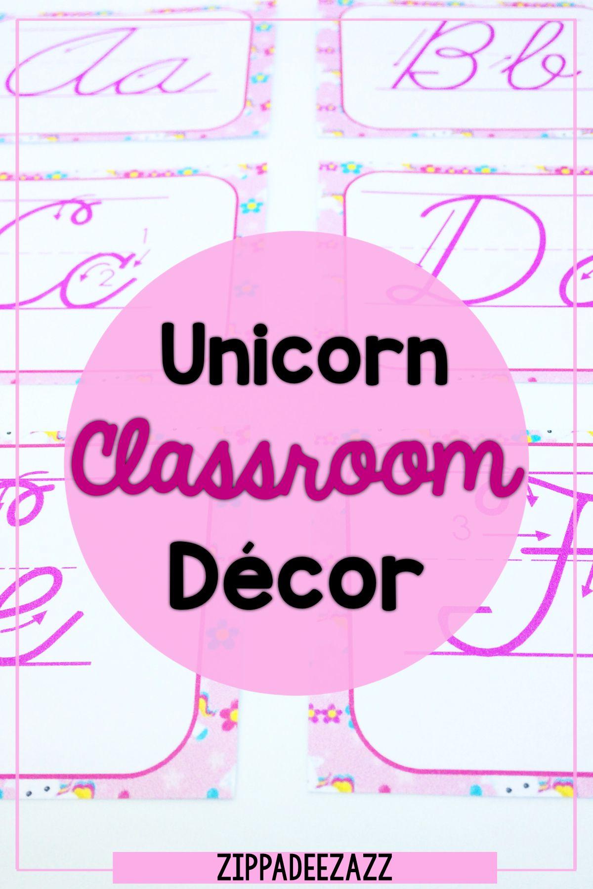 Unicorn Classroom Decor Pack Editable