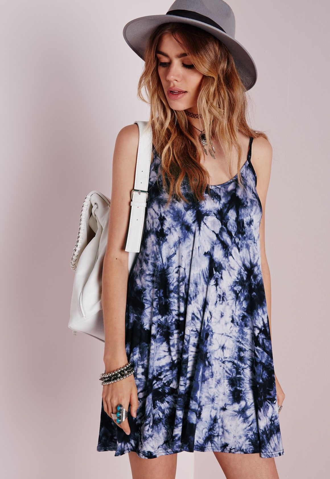 d97020e6a18c PERFECT <3 Missguided - Jersey Strappy Swing Dress Blue Tie Dye | My ...