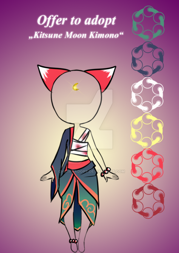 Closed Offer To Adopt Kitsune Moon Kimono By Cherrysdesigns