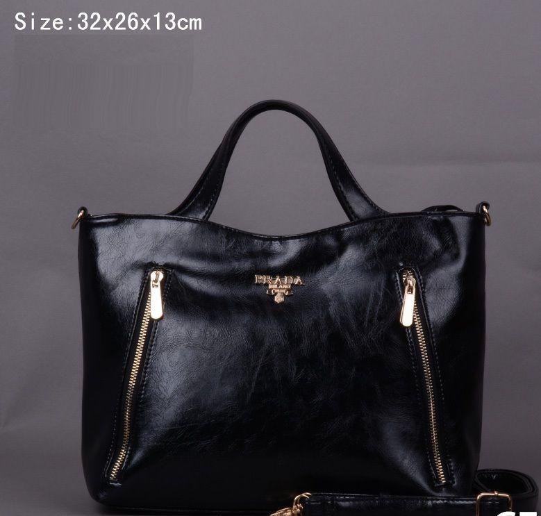 Prada Shoulder Strap Patent Zipper Tote Bag Black Pin It Prada14029