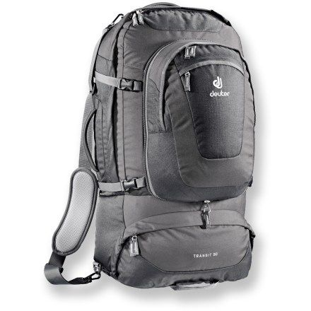26334e7363 Deuter Transit 50 Travel Backpack- has external pockets for easy access  nada. Removable daypack. Fully adjustable straps.