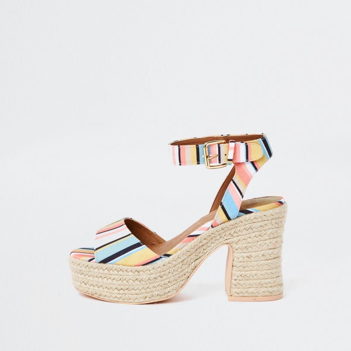ff86483829b White stripe Caroline Flack block heel sandal