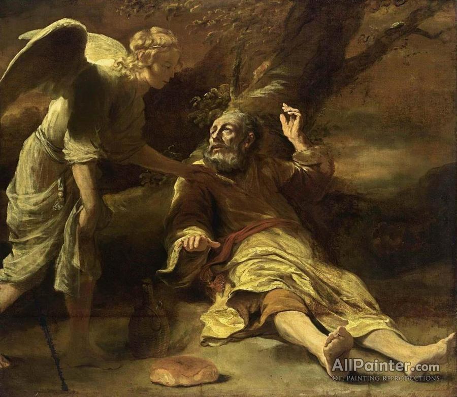 ANGEL WAKES PROPHET ELIJAH IN THE DESERT PAINTING BIBLE ART REAL CANVAS PRINT