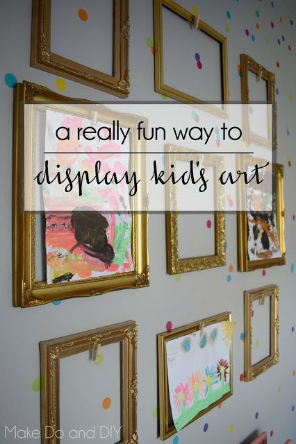 A Fun Way To Display Kids Art In Empty Frames Art Display Kids