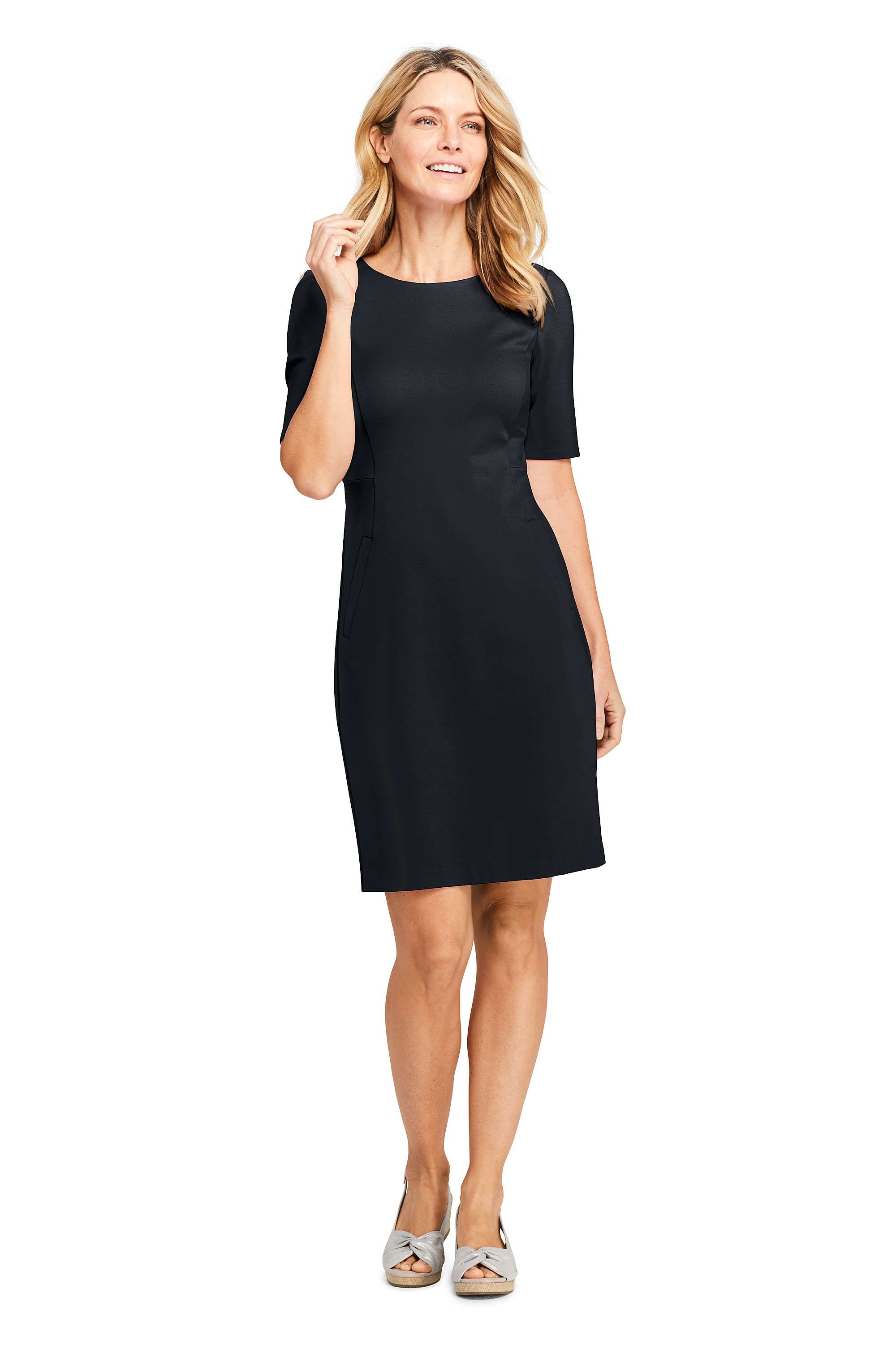 ff3ca6a1 Women's Ponte Knit Sheath Dress with Elbow Sleeves from Lands' End ...