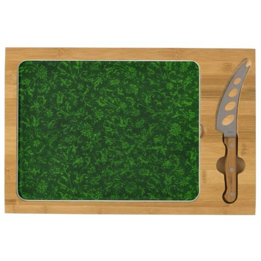 Vintage Floral Green Flowers Cheese Board