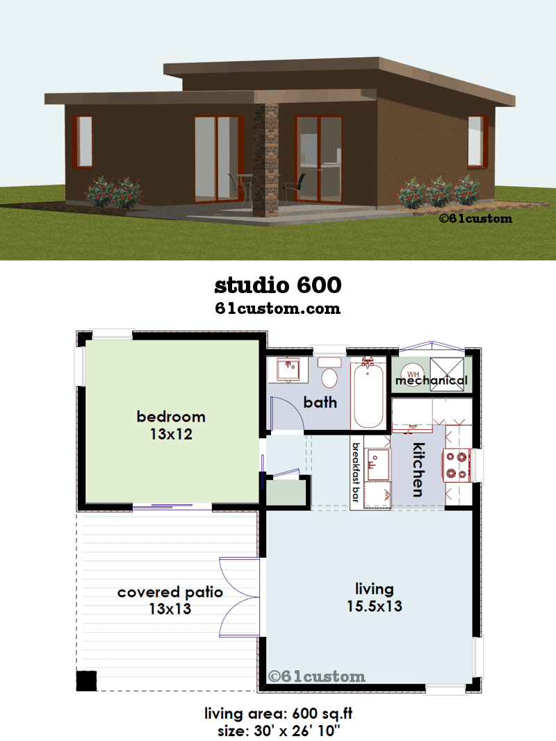 Studio600 Small House Plan 61custom Contemporary Modern House Plans Guest House Plans Courtyard House Plans Modern Tiny House