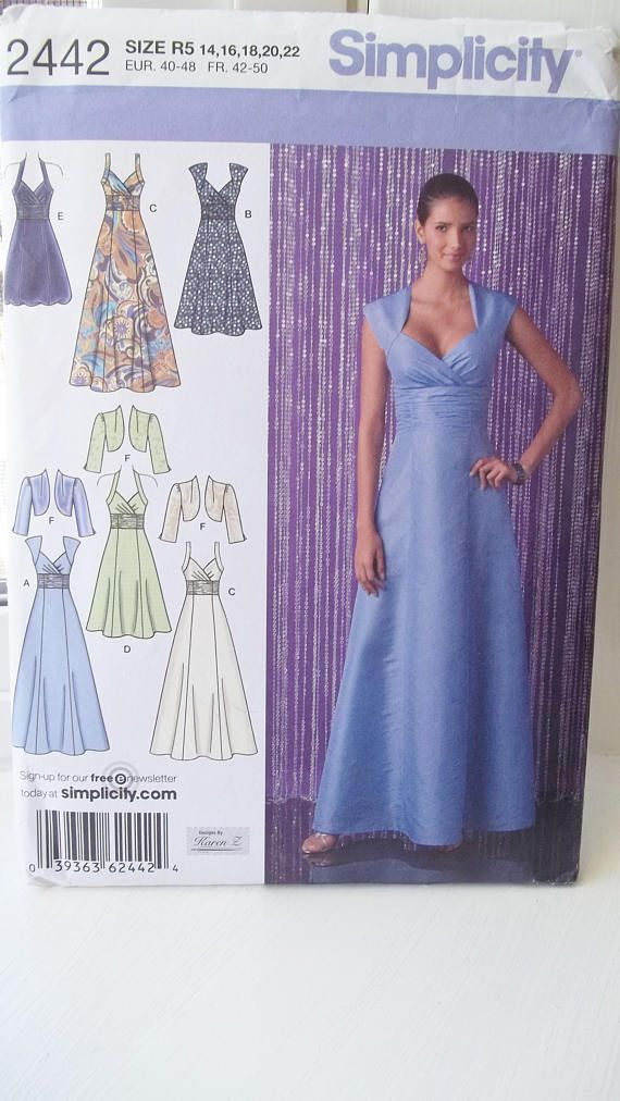 Misses\' Formal Gown with Bolero Simplicity 2442 Sewing Pattern, Long ...