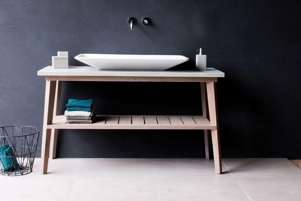 badm bel one massivholz mit instant grey finish und beton waschtischplatte. Black Bedroom Furniture Sets. Home Design Ideas