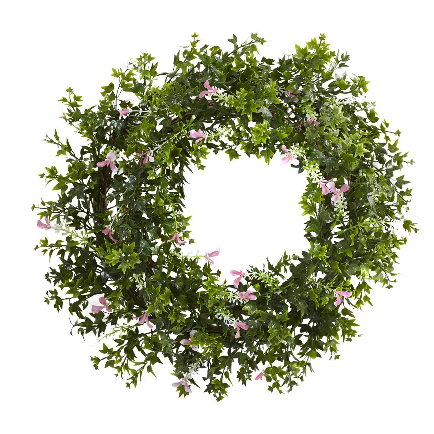 """Mini Ivy & Floral Double Ring Wreath w/Twig Base 18"""" - P&J Home and ..."""