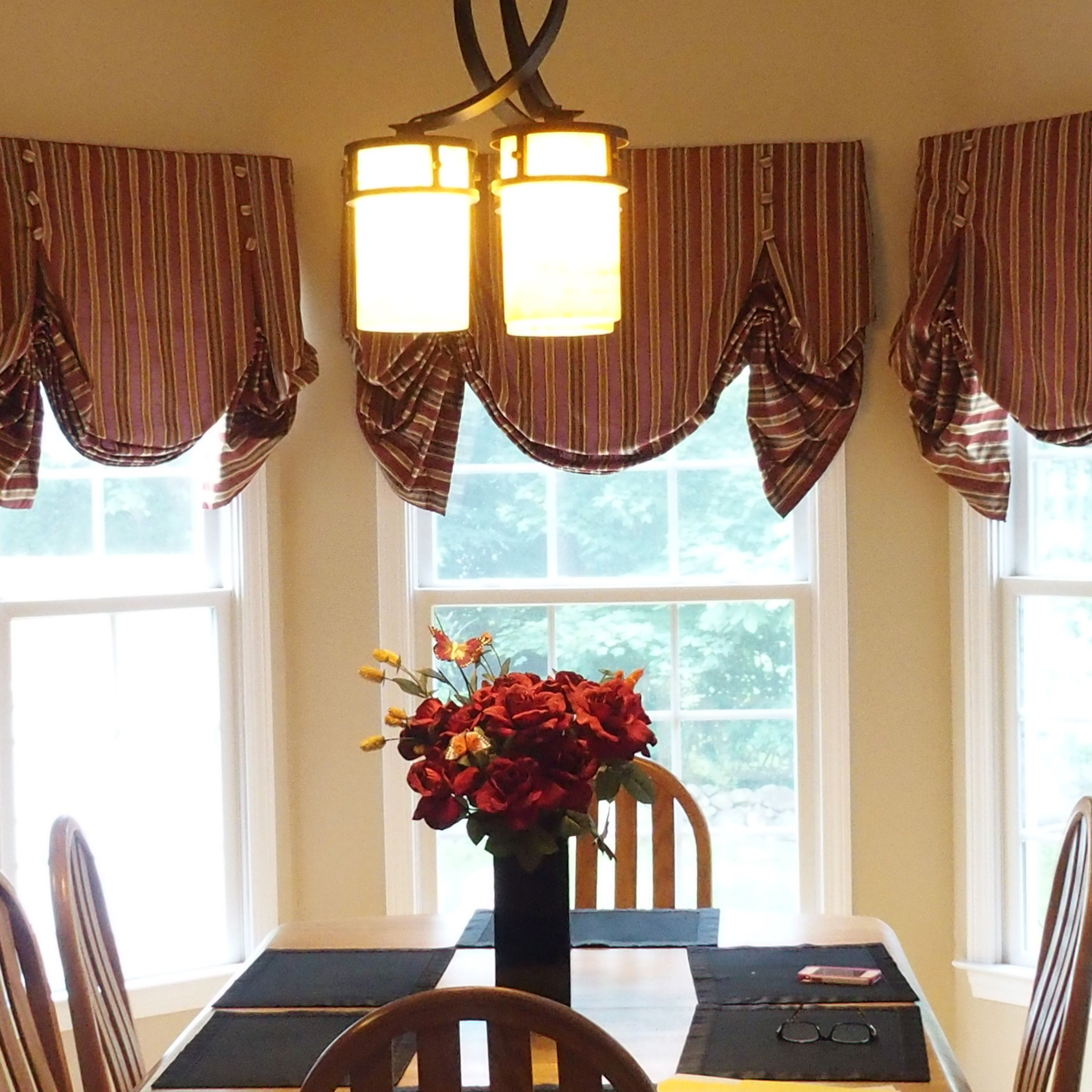 Dining room window coverings  pin by curtain call on london shades on bay windows in a kitchen