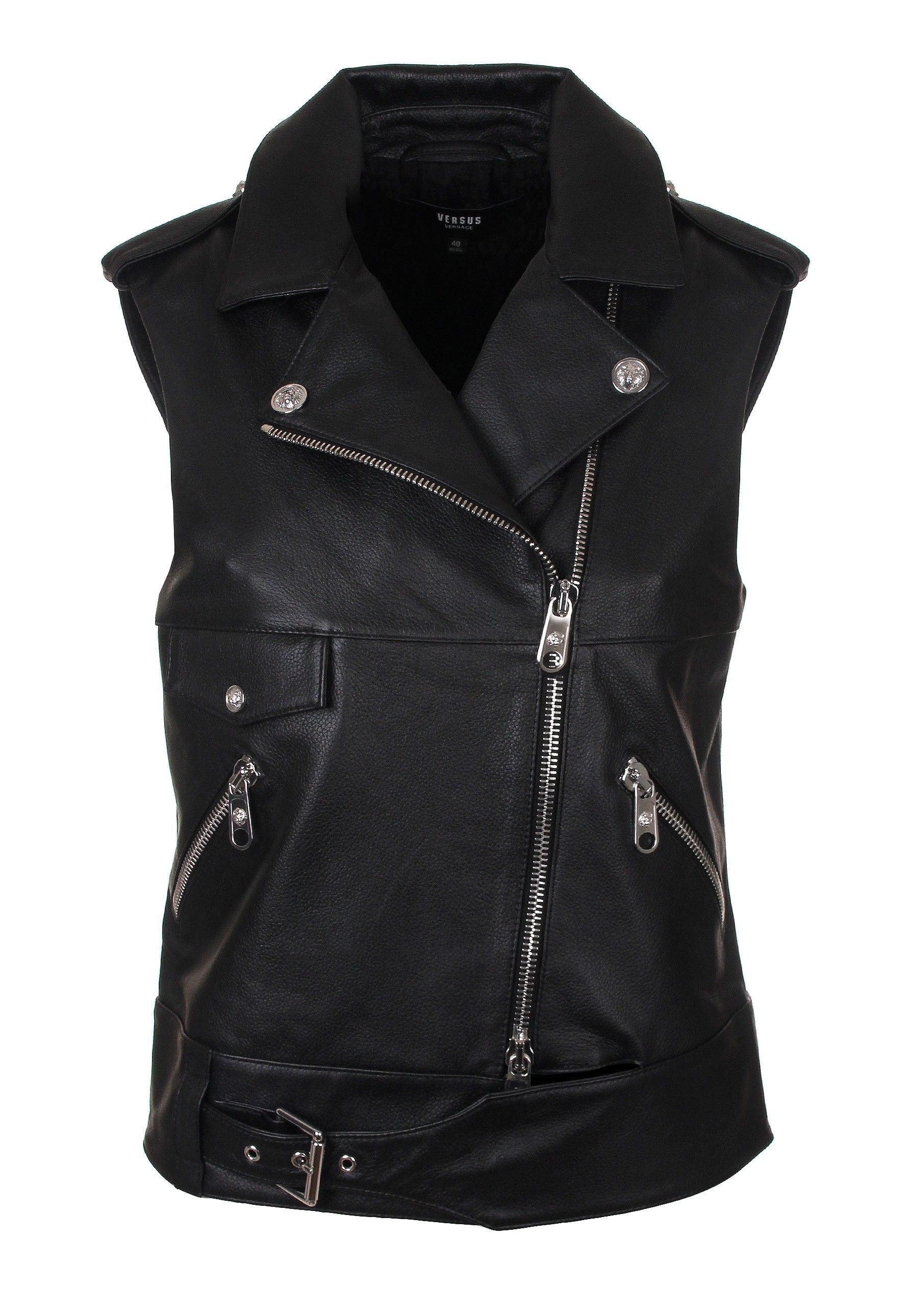a48776066 Versus Versace Sleeveless Leather Biker Jacket in black. Cut from ...