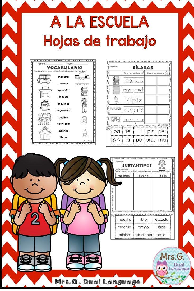 A La Escuela Hojas De Trabajo School Literacy Packet In Spanish