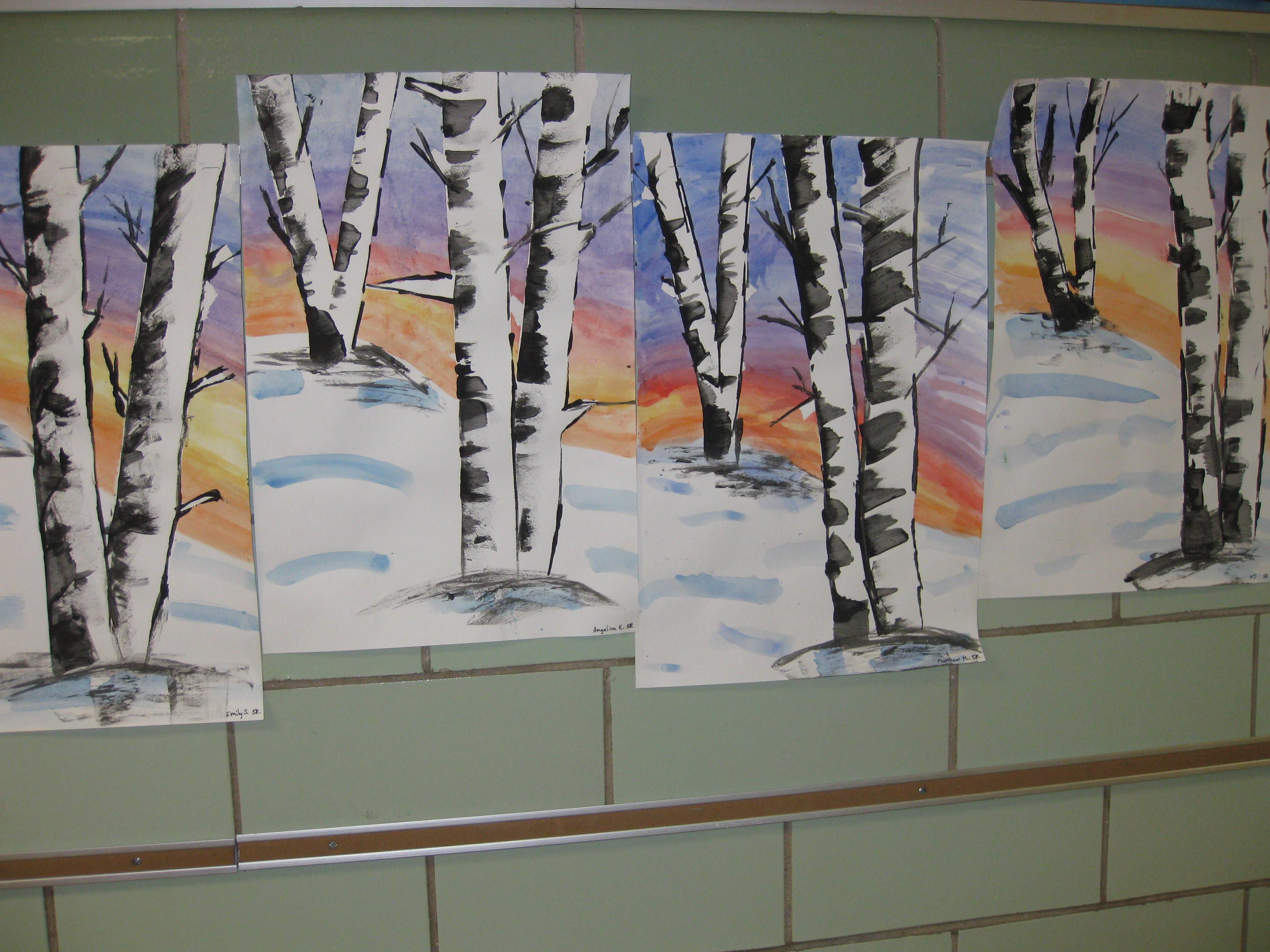 Water Color And Tempra Birch Trees Gr 5
