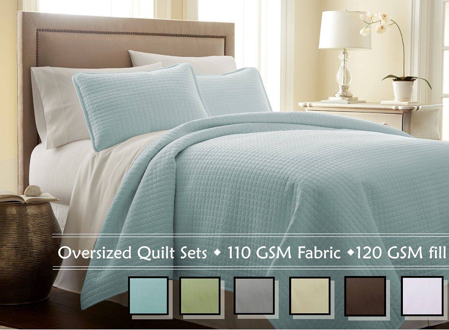 Amazon.com: Southshore Fine Linens 3 Piece Oversized Quilt Set - Bright White FULL / QUEEN: Home & Kitchen