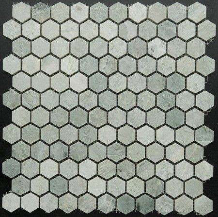 Ming Green Marble 1 Hexagon Polished Mosaic Tile On 12x12 Sheet Sample Hexagon Mosaic Tile Mosaic Tiles Hexagonal Mosaic