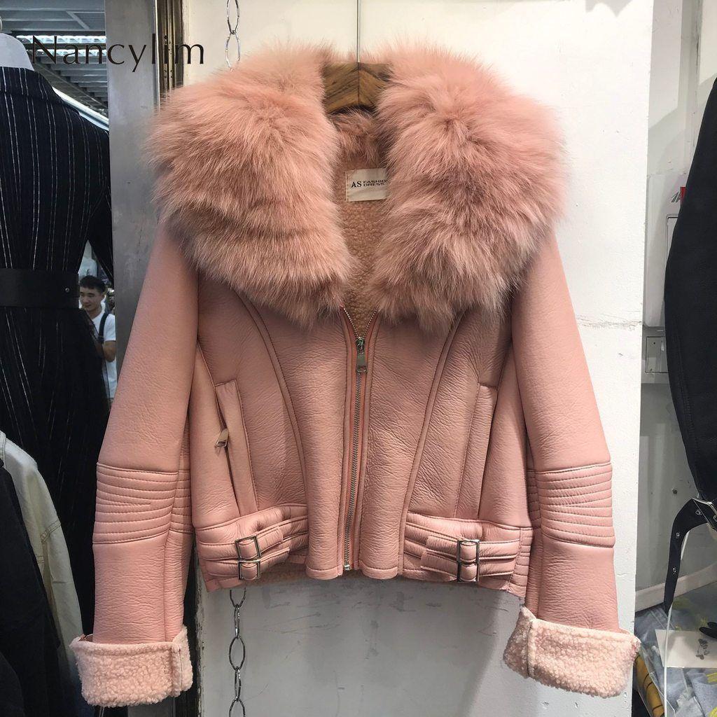 Real Fox Fur Collar Leather Jacket Women New Korean Style