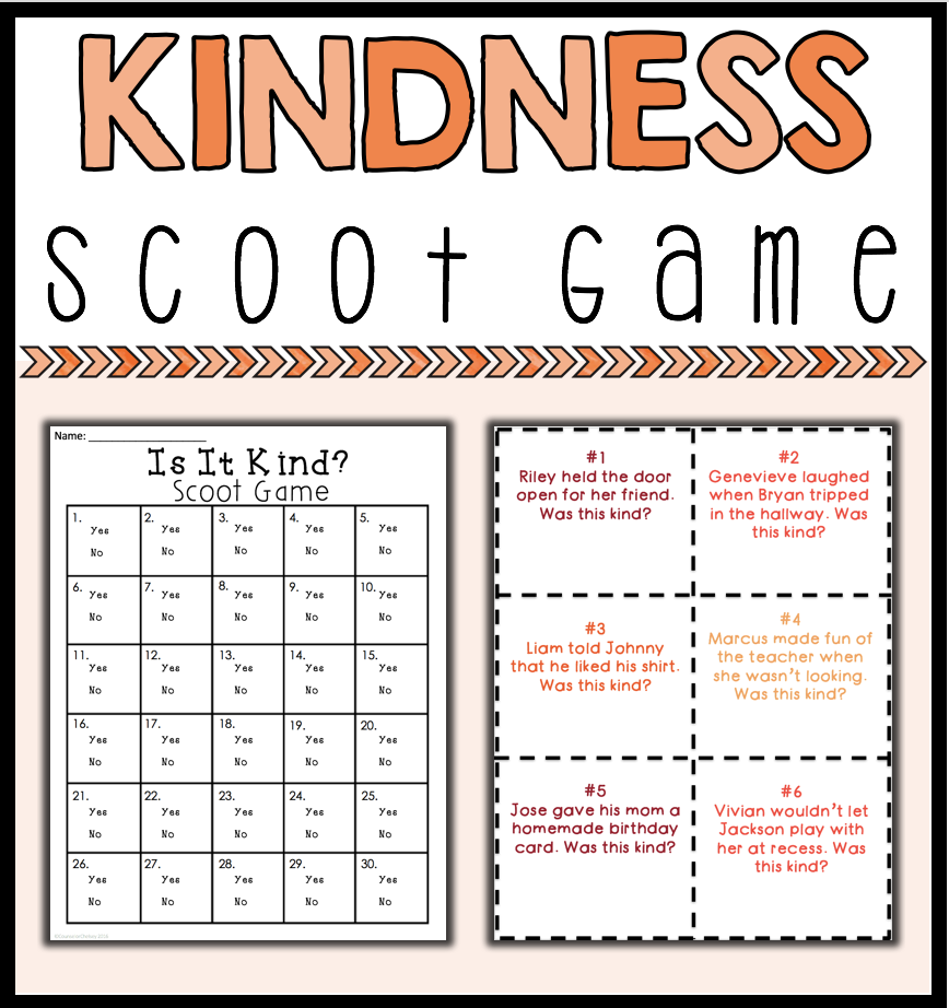 kindness scoot game student learning prompts and students