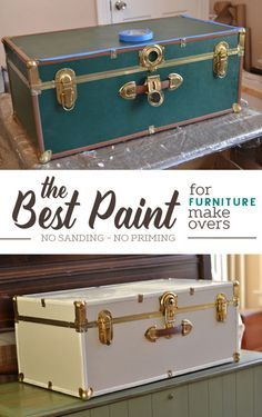 The Best Paint For Furniture Makeovers No Sanding No Priming Diy Furniture Makeover Church Street Design Trunk Makeover Furniture Makeover Cool Paintings