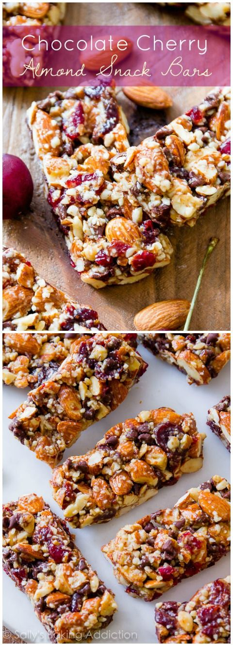 Chocolate Cherry Almond Snack Bars-- copycat KIND bars! sallysbakingaddiction.com