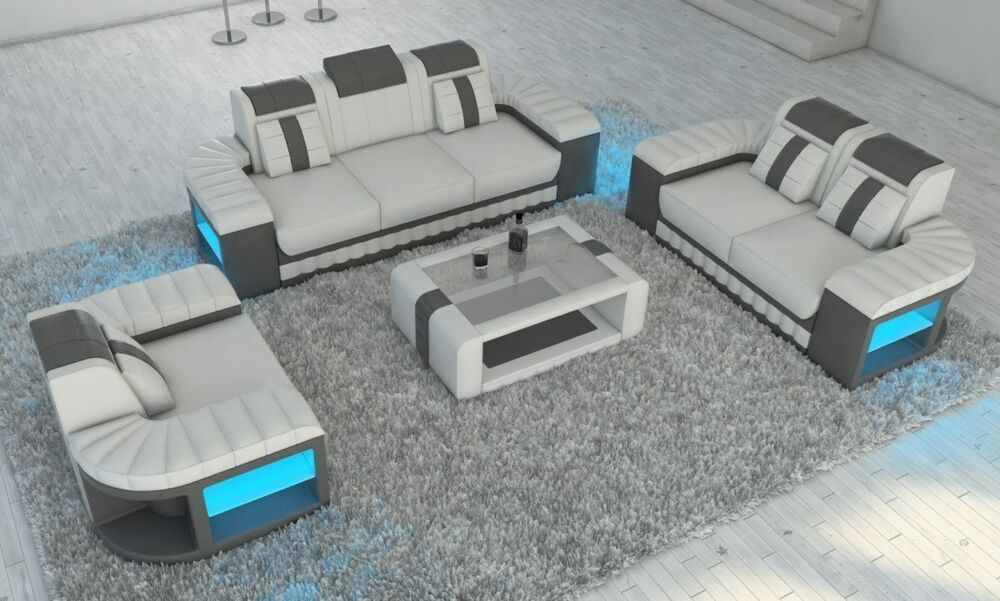 Leder Sofagarnitur Bellagio 3 2 1 Designer Sofa Opt Led Beleuchtung Weiss Grau In 2020 Leather Sofa Sofa Set Leather Sofa Set