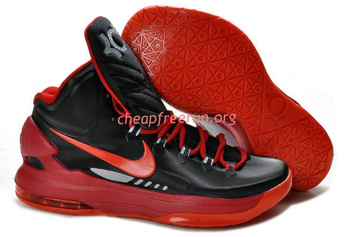 New Nike Zoom KD V Kevin Durant 5 Shoes For Sale Black Sport Red 554988 005