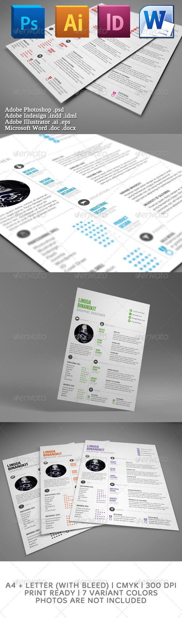 Sewon Clean Resume Template | Template, Print templates and Brand ...
