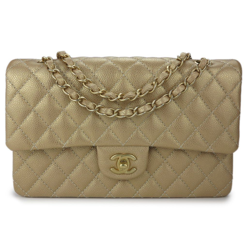 Chanel Medium Classic Double Flap Bag In Pearly Gold Caviar Dearluxe Com Chanel Handbags Chanel Bag Classic Chanel Classic Flap Bag