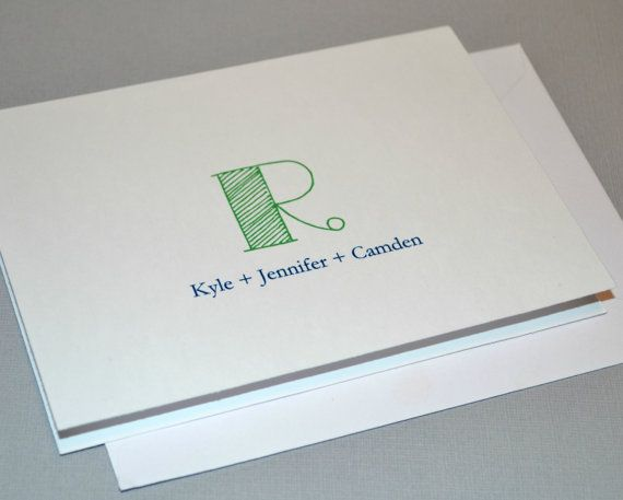 10 Custom Notecards - Personalized stationary - Monogram - thank you