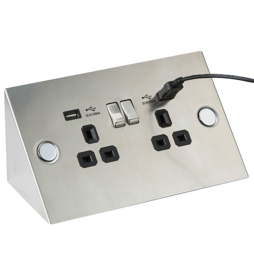 Angled Twin Kitchen Socket With Usb Sockets Light Switches And