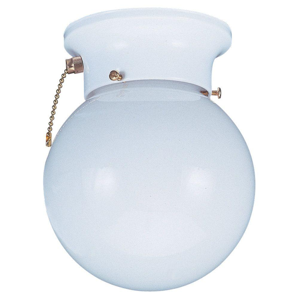 Sea Gull Lighting Tomkin 1 Light White Ceiling Fixture With White Glass 5367pc 15 The Home Depot Sea Gull Lighting Flush Mount Lighting White Flush Mount Light