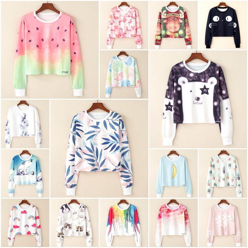 Korean Style Women Long Sleeve Hoodie Sweatshirt Preppy Casual Sweater Crop Tops