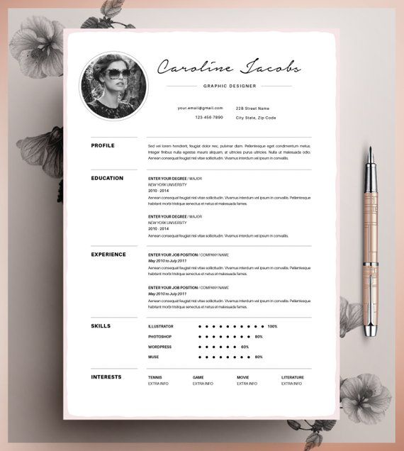 professional resume template  cv template editable in ms word and pages  instant digital