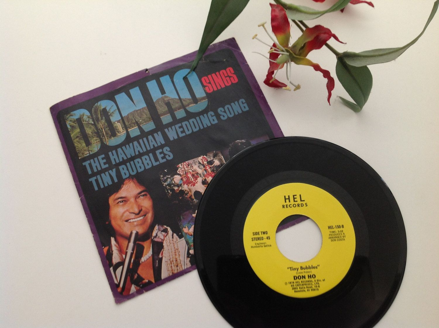 Don Ho Vintage 1978 45 Record Tiny Bubbles Hawaiian Wedding Song Vinyl