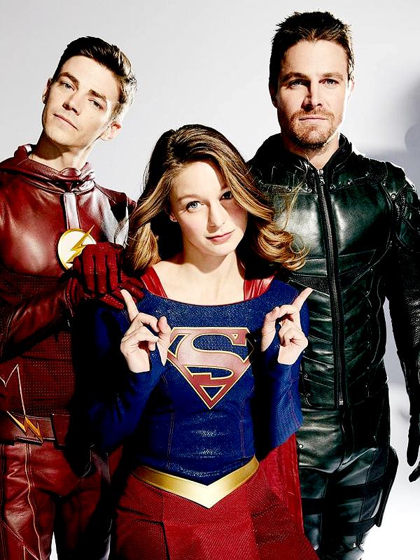 Grant Gustin Melissa Benoist And Stephen Amell For Ew Personajes De Superman Superhéroes Dc Superhéroe Flash
