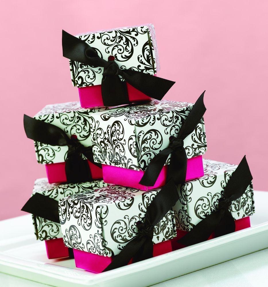 Black White Red Fuchsia Pink Filigree Wedding Birthday Favor Boxes ...
