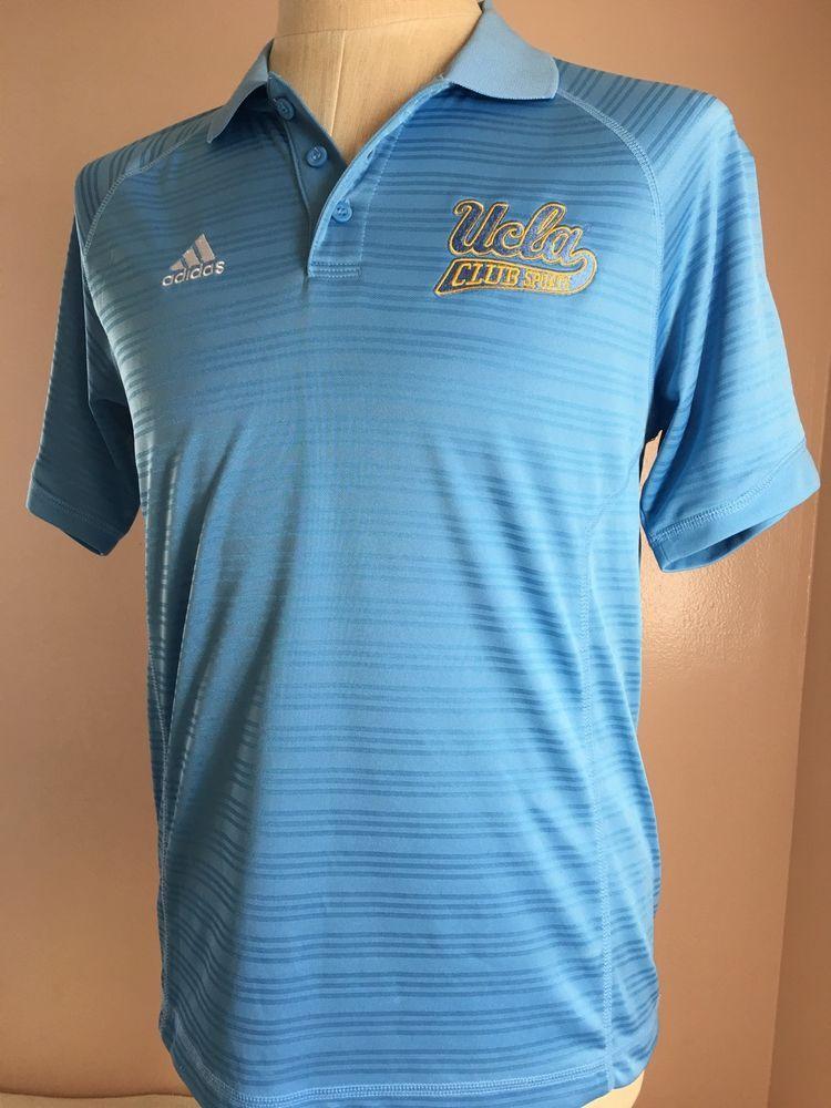 6c37d6a17 Adidas Climalite UCLA BRUINS Polo Shirt Summer Golf Blue Gold Short Sleeve  Small  adidas